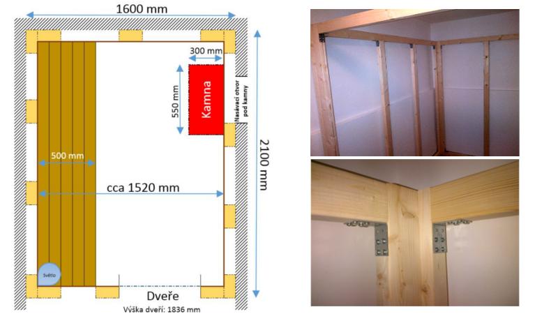 Půdorys sauny a smontovaná nosná konstrukce sauny s detailem